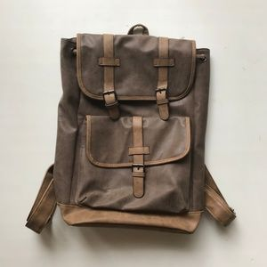 Brown Drawstring Faux Leather Backpack Bag